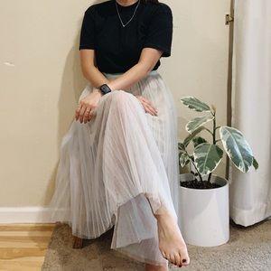 Green & Beige Tulle Skirt